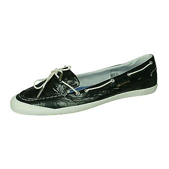 Tretorn Sunniva Patent Womens Leather Deck / Boat Shoes - Dark Grey