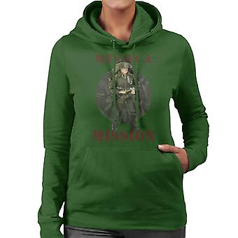 Action Man On A Mission Women's Hooded Sweatshirt