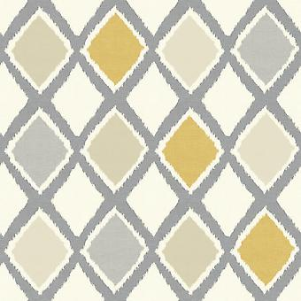 Diamond Geometric Lattice Wallpaper Blue Yellow Grey White Arthouse Ayat