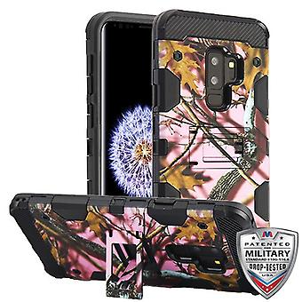 MYBAT Pink Oak-jacht camouflage collectie/zwarte Storm tank hybride Case voor Galaxy S9 plus