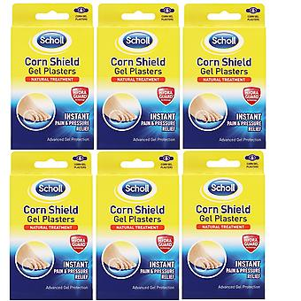 Scholl Corn Shield Gel Plasters Cushioning Instant Relief (6)-Pack Of 6