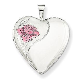 925 prata esterlina estampada presente em caixa Primavera anel não gravável polido e cetim 20mm com esmaltado Rose Heart lo