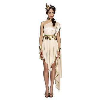 Womens crème & gouden Romeinse godin Fancy Dress kostuum