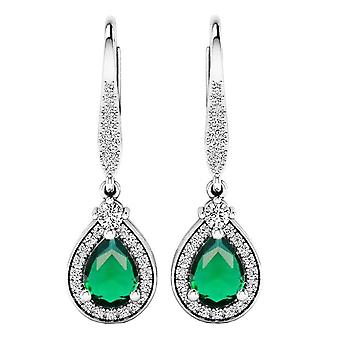 Dazzlingrock Collection 7X5 MM Each Pear Lab Created Emerald & Real Diamond Dangling Earrings, Sterling Silver