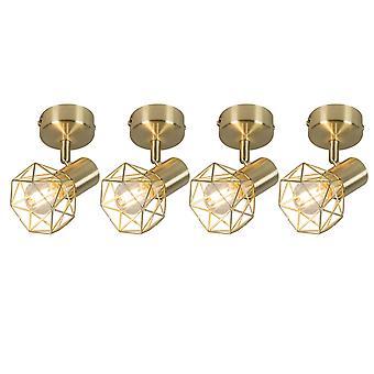 QAZQA Set of 4 Art Deco Adjustable Spotlight Brass - Mosh 1