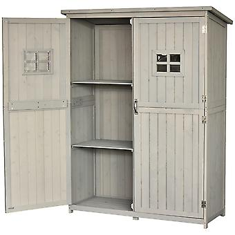 Outsunny Wooden Garden Shed Tool Storage Cabinet Organizer Outdoor Double Door Shelf 127.5L x 50W x 164H cm Light Grey