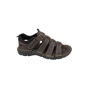 Roamers Eugene Mens Leather Open Toe Caged Sandals Brown