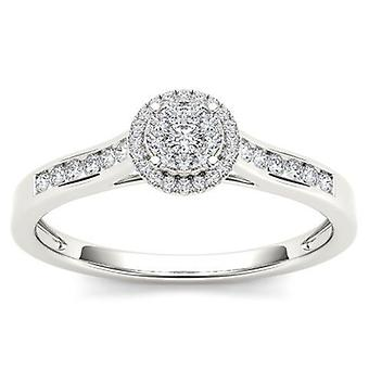 IGI Certified 10k Solid White Gold 0.25 Ct Diamond Halo Engagement Ring