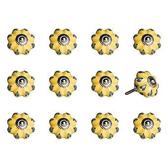 "1.5"" x 1.5"" x 1.5"" Ceramic Metal Yellow and Green 12 Pack Knob"