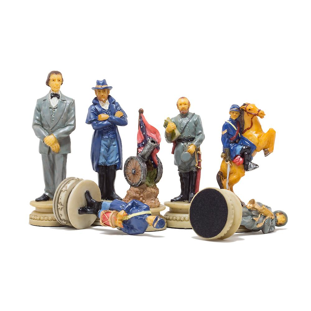 The American Civil War Hand painted themed chess pieces by Italfama