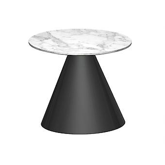 Gillmore Round Marble Side Table With Conical Black Base
