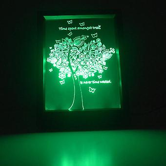 Time Spent Amongst Trees Quote Colour Changing RC LED Mirror Light Frame