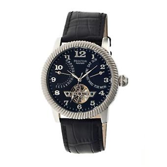 Heritor Automatic Piccard Semi-Skeleton Leather-Band Watch - Silver/Black