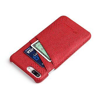 iPhone 8 PLUS,7 PLUS tapauksessa, tyylikäs deluxe käärme kuvio nahkakansi, punainen