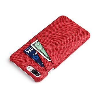 Para iPhone 8 PLUS,7 PLUS Case, Elegante Deluxe Snake Pattern Leather Cover, Vermelho