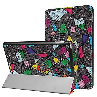 Para iPad 2018,2017 9.7in Caso, Colorido Abstract Polygonal 3-fold Leather Cover