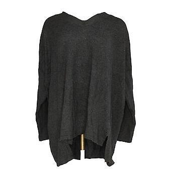 Style et Cie. Femmes -apos;s Plus Sweater Hi/Lo V-Neck Tunic Charcoal Gray