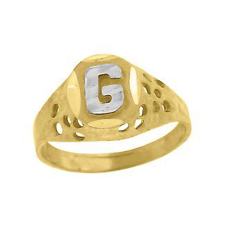 10k Two tone Gold baby voor jongens of meisjesLetter Naam Gepersonaliseerde Monogram Initial G Band Ring Measures 7.5x2.20mm Wide S