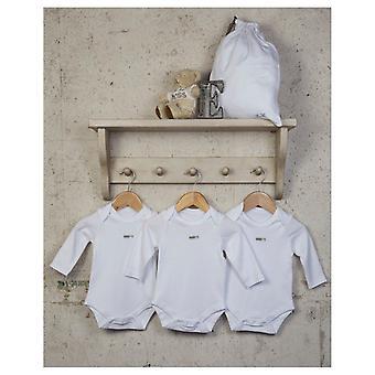 Den essensielle baby unisex langermet hvit bodysuits - 3 pakke