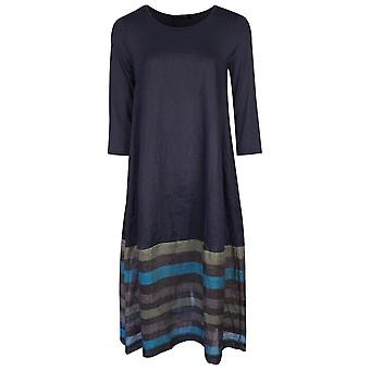 Latte Navy Blue Long Sleeve Linen Skirt Dress