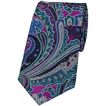 Posh and Dandy Large Edwardian Paisley Silk Tie - Magenta/Blue/Green