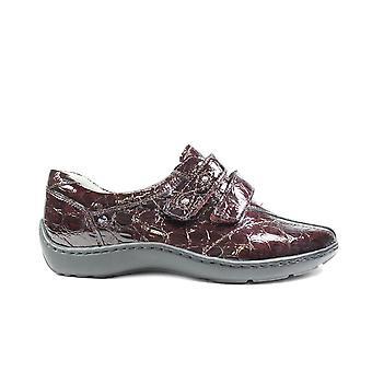 Waldläufer Joy Henni 496301 183 076 Burgundy Patent Leather Womens Wide Fitting Rip Tape Shoes
