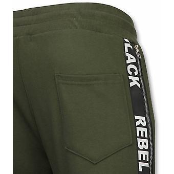 Casual Jogging Shorts-Rebel Black-Khaki