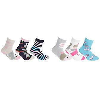FLOSO per bambini ragazze cotone ricco pinza calzini (3 paia)