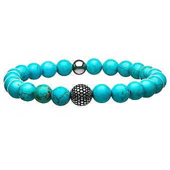Men's Stretch-Fit Stainless Steel Bracelet with Turquoise Stone Balls