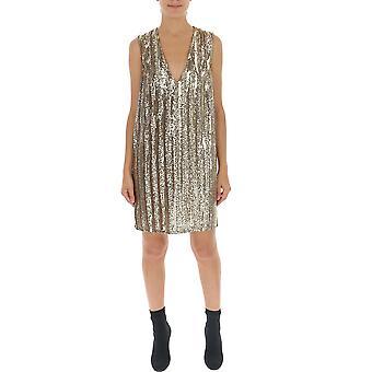 Amen Amw19423002 Damen's Gold Polyester Kleid
