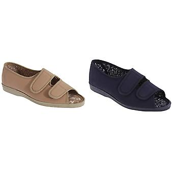 San Diego Womens/Ladies Wide Fit Cotton Twin Touch Fastening Peep Toe Casual Shoes