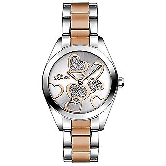 S. Oliver SO-3252-MQ wrist watch, quartz, Analog Display, Woman, Multicolor, Silver Dial stainless steel bracelet