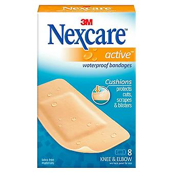 Nexcare active waterproof bandages, knee & elbow, 8 ea