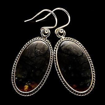 "Picasso Jasper Earrings 1 1/2"" (925 Sterling Silver)  - Handmade Boho Vintage Jewelry EARR398957"