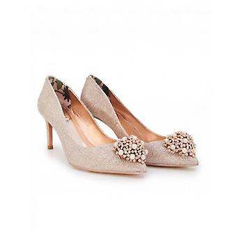 Ted Baker Shoes Metallic Brooch Front Court Shoes