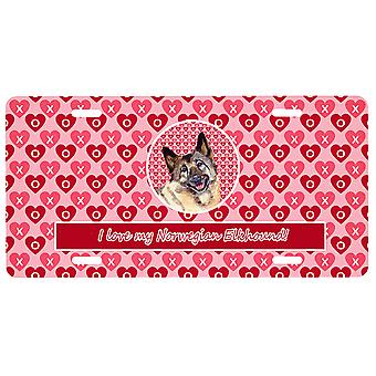 Norwegian Elkhound Valentine's Love and Hearts License Plate