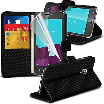 i-Tronixs Vodafone First 7 Carbon Fiber Classic Wallet Flip Case -Black Carbon