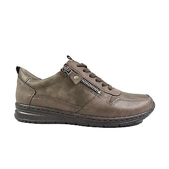 Ara Sapporo 62422-12 Grey Leather Womens Wide Fit Lace/Zip Up Casual Trainers