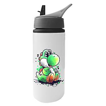 Yoshi Acquerello Super Mario Bottiglia d'Acqua in Alluminio Con Paglia