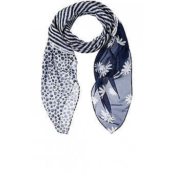 Olsen Navy Stripe & Daisy Print Scarf