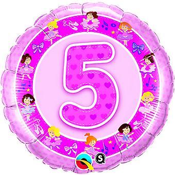 Qualatex 18 Inch leeftijd 5 roze ballerina's Design circulaire folie ballon