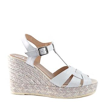 Kanna Margarita White Leather Espadrille Wedge Sandal