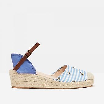 Joules Winnie damas cuña zapatos azul abeja raya