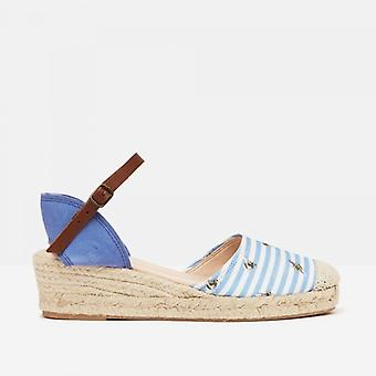 Joules Winnie Damen Keil Ferse Schuhe blau Biene Streifen
