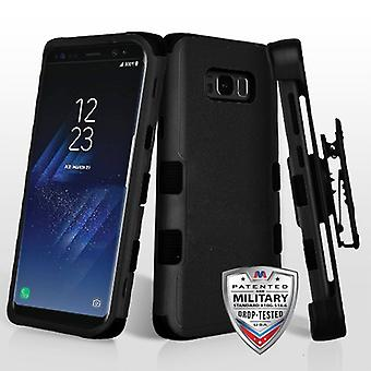 MYBAT Natural Black/Black TUFF Hybrid Case w/ Holster para Galaxy S8 Plus