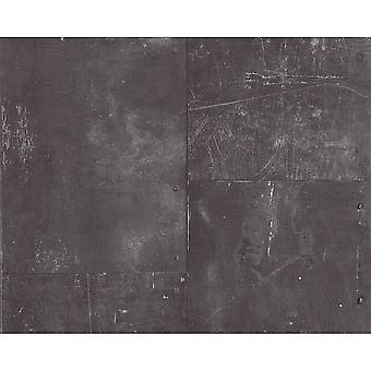 A.S. Creation AS Creation Metal Panel Scratched Iron Faux Effect Mural Charcoal  Wallpaper