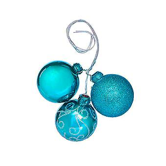 3 Assorted Blue Wired Christmas Bauble Ornaments for Wreaths & Floristry