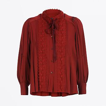 HIGH  - Memory - Tie-Neck Blouse - Deep Red