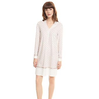 Féraud High Class 3201189-16800 Women's Ivory-Greige Spotted Cotton Nightdress