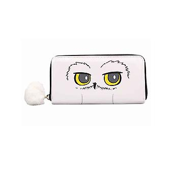 Harry Potter Purse Hedwig Face pompon moelleux zip nouveau blanc officiel